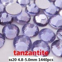 Wholesale 1440pcs tanzanite ss20 mm crystal glass Rhinestone flatback rhinestones silver foiled