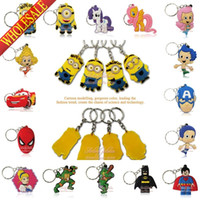accessories keychains - Free DHL Mixed Despicable Me Avengers Super Mario Bubble Guppies D PVC Keychains Key Ring Cartoon Character Key Accessories Gift
