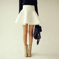 Wholesale gt gt gt Hot Fashion lt lt lt Summer Women White Vintage Ladies Saia High Waist Flared Puff Casual Skirt Mini Skater Ball Skirts FG1511