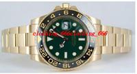Wholesale Factory Supplier Luxury Fashion Watch GMT II Yellow Gold Green Dial Ceramic LN Ceramic Bezel WATCH Men s Watches