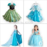 Cheap 2015 Elsa Dress girl Custom made Movie Cosplay Dress Summer Anna Girl Dress Frozen Princess Elsa Costume for Children 3-8Y