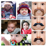 Wholesale baby pacifier funny pacifier Cute Teeth Mustache Baby Boy Girl Infant Pacifier Orthodontic Dummy Beard Nipples Pacifiers safe