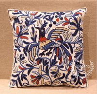 Wholesale Embroidered Cushion x45CM Blue Phoenix Pattern Pillow Cover Pastoral Handmade Embroidery Cushion Car Sofa Bedding Decorative Pillow