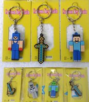 Wholesale Sheet Minecraft Keychain Cartoon Anime Figure Pendants kids gifts