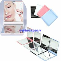 Wholesale Lady Makeup Cosmetic Folding Portable Compact Pocket Mirror LED Lights Lamps
