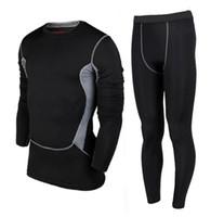 Wholesale Running Sets Flexibility PRO Sport Training Long Shirts Tight Trousers Long Pants GYM Football Basketball Body building