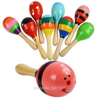 Wholesale Wooden Maraca Rattles Ball years Educational Kids Musical Party Favor Child Shaker Toy Hot Baby Rattles