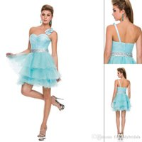 Cheap Youthful Aqua Prom Dresses Tulle One Shoulder A-line Tiered Short Beaded Crystals 2014-2015 Homecoming Graduation Gowns Special Occasion