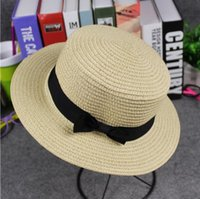 Cheap wholesale Shade childrens Bow hat Parent-child Leisure kids hats baby Flat-topped Woven straw hat