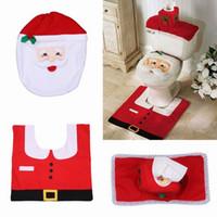 Wholesale Lovely Christmas Santa Bathroom Toilet kit Cover and Rug Set Christmas Bath Set Christmas Decorations GOK