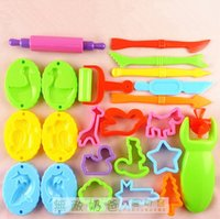 Wholesale 23 Pieces Color Play Dough Model Tool Toys Creative D Plasticine Tools Playdough Set Clay Moulds Deluxe Set Learning Education Toys
