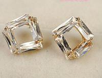 Wholesale diamond hollow square lady s earings mm nnsssp