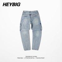 bboy pants - 2015 Fashion men Jeans hip hop harem pants vitage autumn denim cargo pants men cowboy trousers street bboy trousers multi pocket
