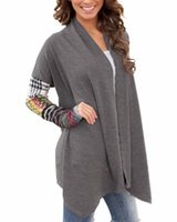 asymmetric hem coats - New Spring Autumn Women Thin Jacket Casual Splicing Print Hem Long Sleeve Coat Irregular Cardigan Outerwear Plus Size M XXL