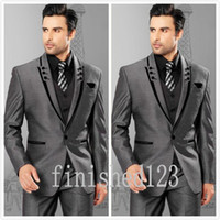 best prom - Fashionable One Button Grey Groom Tuxedos Peak Lapel Groomsmen Best Man Wedding Prom Dinner Suits Jacket Pants Vest Tie G5180