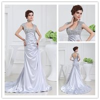 Wholesale 2015 Sparkling Jewel Backless Designer Occasion Dresses With Samll Beading Customer Made Silver Sweep train Elastic Satin Prom Gowns