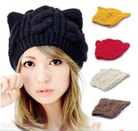Wholesale Cat Ears Cute Hats For Women Brand Knitting Warm Korean Fashion Hot Selling Lovely Beanies Winter knitted Cap CA03024