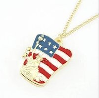 american flag sweater for women - American flag locket necklace sweater chain Fashion jewelry cheap Jewelry for women Mixed color C116