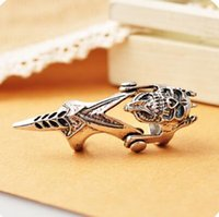 double finger ring - punk style demon skull design rings Vintage finger double Fake nails Ring Retro antique silver skeleton fashion unique Ring Jewelry gift
