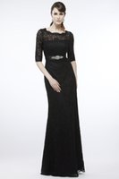 Actual Images Black V-neck 2015 Sexy Black Half Long SLeeve Lace Mother of the Bride Groom Dresses Sheath Crystals Sequins Jewel Evening Prom Dress Gowns
