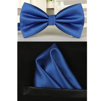 Wholesale bowtie men vintage purple black yellow silver wedding dress suits bow tie pocket square handkerchief set lote