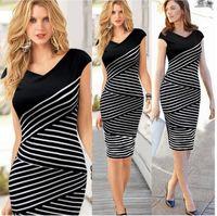 Wholesale 2015 Elegant Summer Women Black White Striped Tunic Fitted Office Business Wear to Work Sheath Shift Pencil Dress S XXXL size
