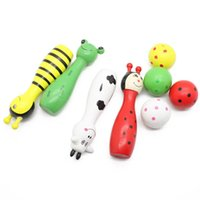 wooden ball - Children Gift Desigh Bowling Balls Set Bowling Balls Bowling Pins Wooden Animal Bowling Game