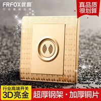 Wholesale Excellent bright gold Fox D sound and light control sensor switch delay switch wall switch socket panel genuine special