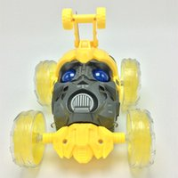 Wholesale New Styles Transformation Bumblebee Styles R C Remote Control RC drift Car Toys voiture telecommande colorful LED light Can Rolling Dancing