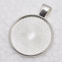 bezel blanks - 1 inch Round Shiny Silver Plated Pendant Trays Blank Pendant Bases mm Bezel Pendant Settings for Glass or Stickers