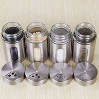 boxes for spices - Rotate spices condiment bottles stainless steel caster BBQ seasoning Storage box for MSG salt pepper shaker