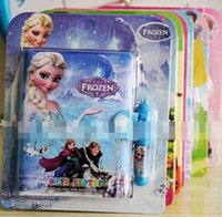 Wholesale 2015 Children Girls Boys Note Book Gifts Cartoons Frozen Office School Supplies Stationery Books With Pen Kids B3855