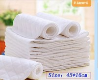 Wholesale 1pc Ecological Cotton Washable Reuseable Baby Diapers Hardcover Layers Breathable Nappy Inserts cm x cm White Color