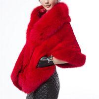 Wholesale autumn and winter fox wool shawls woman mink fur cloak coat wedding luxury Fur Faux Fur to keep warm shawl jacket women s