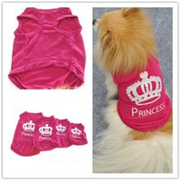 Wholesale Free Ship XS S M L Pet Dog Clothes Princess Printed Dog T shirt Dog Vest Dog Waistcoat Pet Apparel