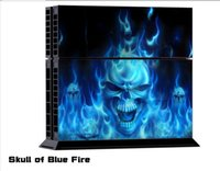 Cheap Skull of Blue Fire Game Vinyl Decal Skin Stickers For Playstation 4 PS4 Console+2 Pcs Stickers For PS4 Controller Free Shipping