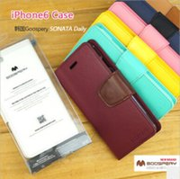 Coréenne Original MERCURY Goospery Sonata Diary Seriers Portefeuille Étui en cuir pour iphone 6 / Plus Samsung Galaxy S3 S4 S5 Note 3 i8190 (A0347)