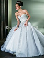Cheap 2014 Ball Gown Crystals Wedding Dresses Demetrios Sweetheart Sequins Beading Court Train Tulle 2015 New Style Bridal Dress Gowns
