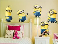 Wholesale 2014 DESPICABLE ME wall stickers Vinyl Art decals room kid decor MINIONS Removable