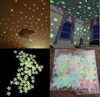 Wholesale 500pcs pack Environmental Wall Stickers Stars Luminous Stars Fluorescent Noctilucent Stars Stickers Glow In The Dark