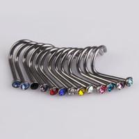 Wholesale 20pcs Mix Colors Rhinestone Nose Studs Ring Bone Bar Pin Piercing Jewelry E5MI