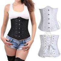 Wholesale Pure Underbust Waist training STEEL boned lace up corset Top G string Plus S XL