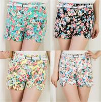 Wholesale Summer Shorts Flower Pattern Mid Waist Elastic Cotton Short Fresh Floral Printed Women Shorts White Black Blue Green Free Size