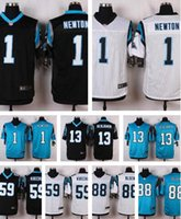 Cheap Mix Order American Football Jerseys #1 Cam Newton #59 Luke Kuechly #13 Kelvin Benjamin White blue Black Elite embroidery logo 50th patch