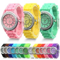 watch silicon gel - N718 New Design Summer Style Crystal Jelly Gel Silicon Girl Quartz Wrist Watch Fashion Women s Geneva Gift