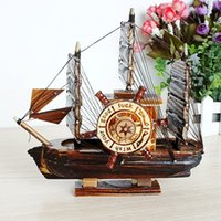 antique wood boats - Gift Mediterranean Style Wood Sailboat Ornaments Octave Music Box Sailing Ship Handmade Carved Model Boat Home Nautical Decoration Crafts