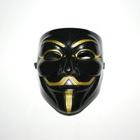 Wholesale Black Party Mask V For Vendetta Gold Beard With Nostrils Guy Fawkes Halloween V Masks PVC Cosplay
