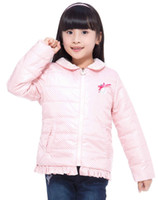 Cheap girls coat lace collar polka dot pattern delicate pearl design children winter outwear sweet girls jacket kids parka 2015 new