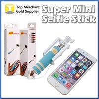 Wholesale 2015 Super Mini Wired Selfie Stick Handheld Monopod Holder Portable Light Foam For iPhone IOS Samsung Smart Phone with reatil package