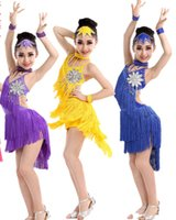 Wholesale 2015 new children flower Latin dance wear tassel girl Competition costumes